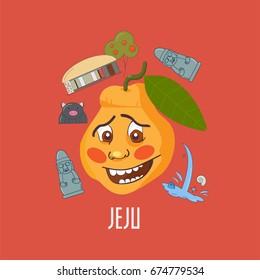 Jeju island hallabong, also known as dekopon character. Hallabong is a sweet variety of mandarin orange named after Hallasan the mountain in Jeju-do, South Korea. Jeju island symbols around it.