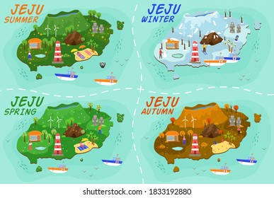 Jeju island travel map. Travel guide in Korean land with traditional attractions stone figures, mountain, lighthouse, flower and fruit, waterfall. Welcome to Jeju in spring, summer, autumn and winter