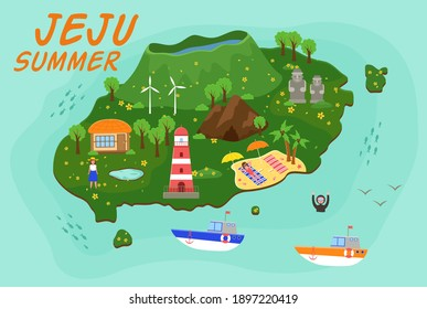 Jeju island travel map vector illustration, Attractions in flat design. Green island in south korea wuth mountaines and waterfalls. Summer travel, active lifestyle. Vacation in an Asian country