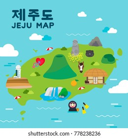 "Jeju island Travel map vector illustration, Attractions in flat design. Korean character is "" Jeju island """