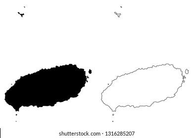 Jeju Province (South Korea, Republic of Korea, ROK, Special self-governing province) map vector illustration, scribble sketch Jeju Special Self-Governing Province (Cheju, Cheju Do, Quelpart, Saishu)