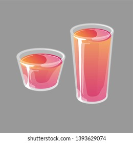 Jello shots in small and tall glass cups. Bright red and orange gradient jelly in glossy cartoon style. Vector illustration isolated on gray background.