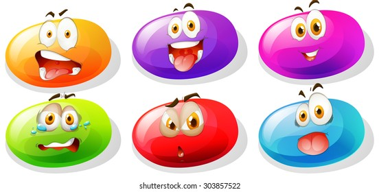 Jelly beans with faces illustration