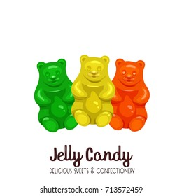 Jelly candy icon. Vector llustration colored sweet marmalade teddy bears.