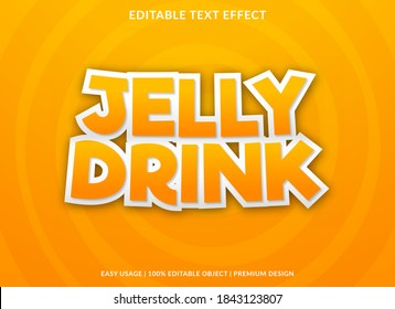 jelly drink text effect template with cartoon style use for business logo and brand