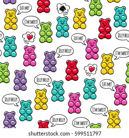 Jelly gummy bears with text bubbles seamless pattern. Sweets background. Hand drawn doodle sketch.