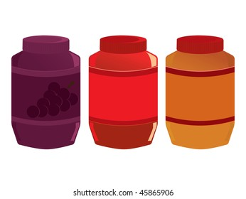 Jelly and peanut butter jars - vector version