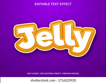 jelly text effect template with cartoon style use for logo and brand title or headline