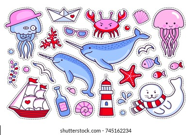 Jellyfish, crab, fur seal, starfish, fish, narwhal, sea shell, lighthouse, ship, bottle, seagull. Collection of sea stickers, patches, badges, pins. Vector isolated illustration.