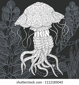 Jellyfish drawn in line art style. Ocean background in black and white colors on chalkboard. Coloring book. Coloring page. Zentangle vector illustration.