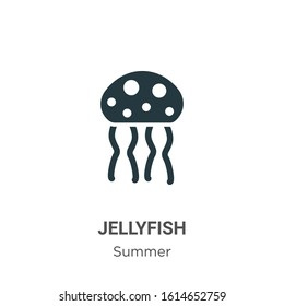 Jellyfish glyph icon vector on white background. Flat vector jellyfish icon symbol sign from modern summer collection for mobile concept and web apps design.