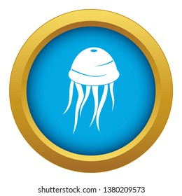 Jellyfish icon blue vector isolated on white background for any design