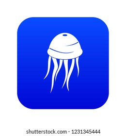 Jellyfish icon digital blue for any design isolated on white vector illustration