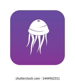 Jellyfish icon digital purple for any design isolated on white vector illustration