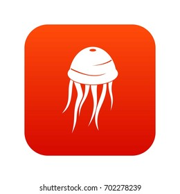 Jellyfish icon digital red for any design isolated on white vector illustration