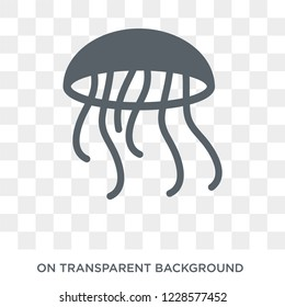 Jellyfish icon. Trendy flat vector Jellyfish icon on transparent background from animals collection.