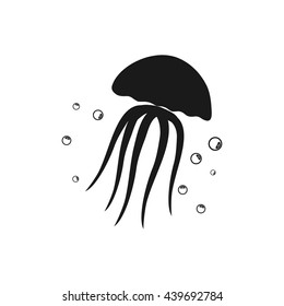 Jellyfish icon Vector. Flat vector illustration in black on white background. EPS 10