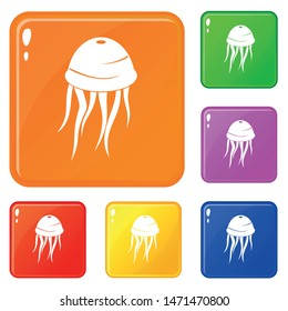 Jellyfish icons set collection vector 6 color isolated on white background