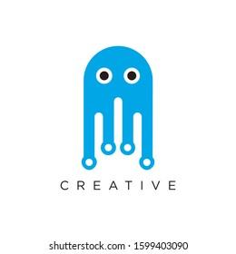 jellyfish logo design techno modern