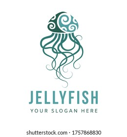 Jellyfish logo graphic design concept. Editable sea jellyfish element, can be used as logotype, icon, template in web and print