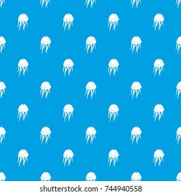 Jellyfish pattern repeat seamless in blue color for any design. Vector geometric illustration