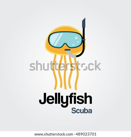 Jellyfish Scuba Logo Template Wearing Diving Mask In Flat Design