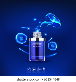 Jellyfish Serum and Collagen Vitamin Vector Background for Skin Care Cosmetic Products.
