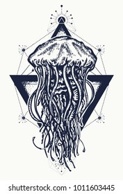 Jellyfish tattoo geometric style. Mystical symbol of adventure, dreams, deep sea