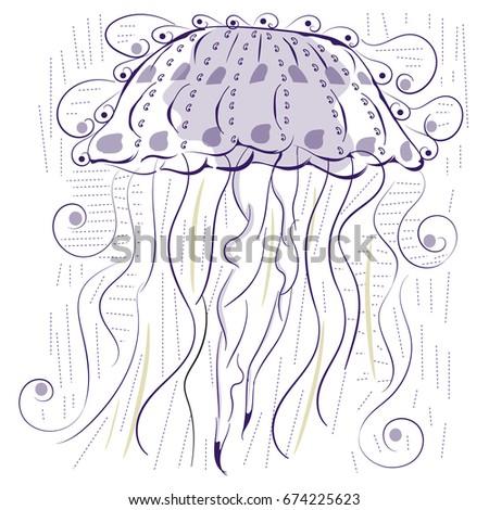 86eb3d3af19 Jellyfish Trend Print Tshirt Sea Life Stock Vector (Royalty Free ...