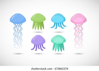 Jellyfish vector flat icon set, Flat design of swimming marine creatures with round shadow isolated on the white background, vector illustration