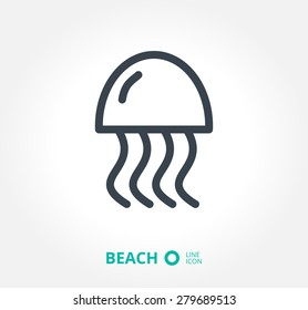 a jellyfish vector icon