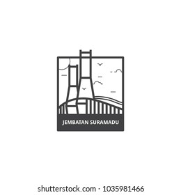 Jembatan Suramadu, Suramadu bridge which connecting between Surabaya and Madura, this bridge is also landmark of each city in icon illustration vector isoalated