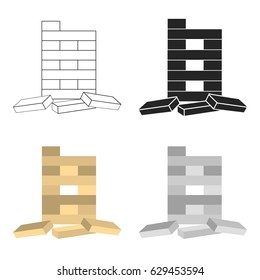 Jenga icon in cartoon style isolated on white background. Board games symbol stock vector illustration.