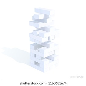 Jenga-like abstract tower is formed by pieces of chalk. White blocks are pulled out from the unstable structure and placed on a top. 3d realistic vector toy building. Business and educational concept.