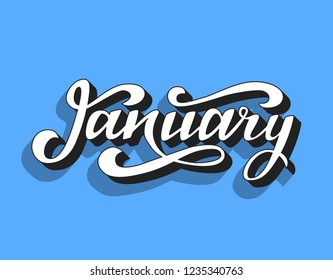 Jenuary. Hand lettering with 3d effect. Vector illustration.