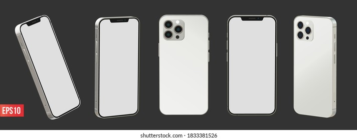JEPARA, INDONESIA - October 14, 2020: Newly released iphone 12 pro 3d realistic vector mockup set