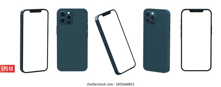 JEPARA, INDONESIA - October 15, 2020: Newly released iphone 12 pro max pacific blue color 3d realistic vector mockup set