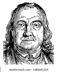 Jeremy Bentham, 1748-1832, he was philosopher, an English jurist, social reformer and the founder of modern utilitarianism, vintage line drawing or engraving illustration
