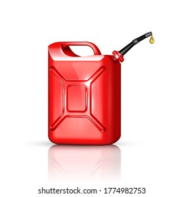 Jerry Can Oil Refinery Industry Equipment Vector. Gasoline Gas Can, Canister Package For Transportation Petroleum Product. Refueling Gallon Container Template Realistic 3d Illustration