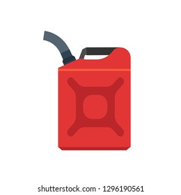 Jerry can red canister diesel handle flat cap jug vector icon. Produce machine gallon gas fuel. Car container motor oil