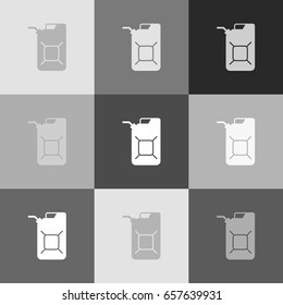Jerrycan oil sign. Jerry can oil sign. Vector. Grayscale version of Popart-style icon.