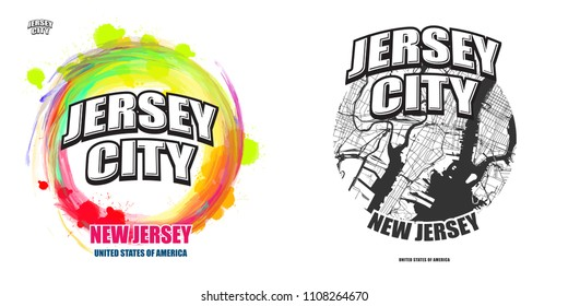 Jersey City, New Jersey, logo design. Two in one vector arts. Big logo with vintage letters with nice colored background and one-color-version with map for every possible print production.