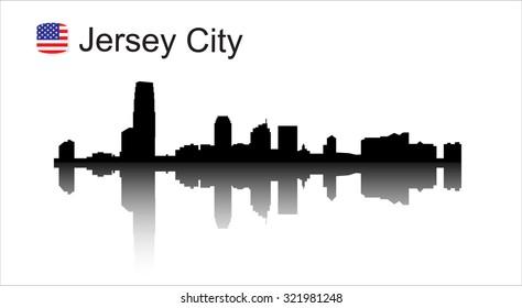 Jersey city New Jersey skyline silhouette. Vector illustration