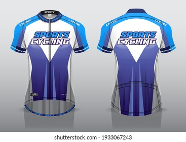 jersey design for cycling, front and back view, fancy uniform and easy to edit and print, cycling team uniform