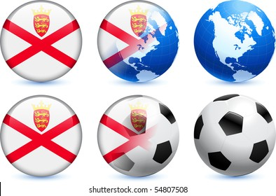 Jersey Flag Button with Global Soccer Event Original Illustration