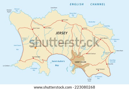 Jersey Map Stock Vector (Royalty Free) 223080268 - Shutterstock