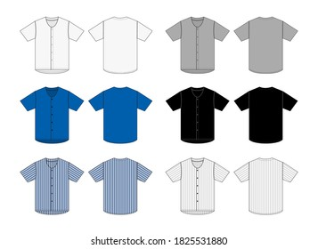 Jersey shortsleeve shirt (baseball uniform shirt) template vector illustration set