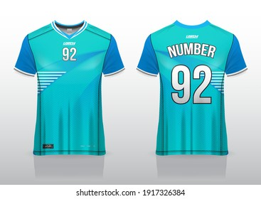 jersey sport shirt template design for soccer Sport, basket ball, running uniform in front view, back view. Shirt mockup Vector, design very simple and easy to custom