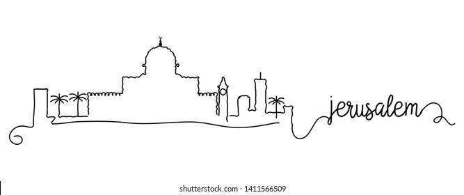 Jerusalem City Skyline Doodle Sign