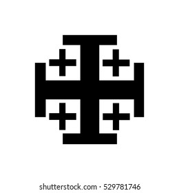 Jerusalem Cross Icon black silhouette.